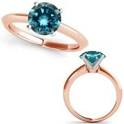 2.50 Carat Real Fancy Blue Diamond 14k Rose Pink Gold Solitaire Engagement Ring