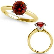 2 Carat Real Fancy Red Diamond 14k Yellow Gold Solitaire Engagement Ring