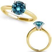 2.50 Carat Real Fancy Blue Diamond 14k Yellow Gold Solitaire Engagement Ring