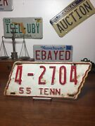 Tennessee License Plate Vintage 1955 State Shaped 4-2704