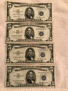 Quantity Of 4 - 1953 Five Dollar Silver Certificate - See Photos