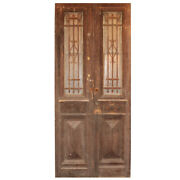 """Antique Pair Of 42"""" French Colonial Doors With Iron Inserts, Ned1353"""
