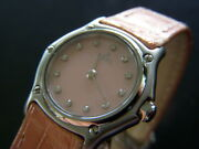 Ebel Sports Classic Diamond Pink Mop Dial Leather Belt Ls Watch Used Excellent