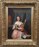 Painting Belgian Wappers Player Mandolin Lute Costume Woman Musician 19th