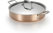 Lagostina Martellata Tri-ply Hammered Stainless Copper Casserole 3qt New