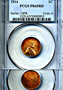 1914 Pcgs Pr65 Rd Rare Date In Red ◉ 1,365 Minted ◉◉ Lincoln Cent Matte Proof 1c