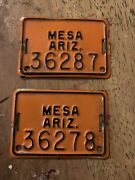 2 Vintage Mesa Arizona Bicycle License Plates Late 60's Early 70's 2x3.5 Inches.