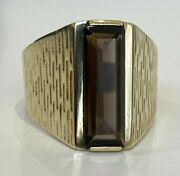 14ct Solid Gold And Smoky Quartz Stone Ring 6.28g Size M 1/2 - 6 1/4