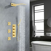 Brushed Gold Shower Faucet Set Thermostatic Shower Trim With 2-spray Shower Head