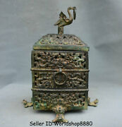 12 Old Chinese Bronze Ware Dynasty Crane Birds Beast Hollow Out Incense Burner