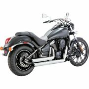 Vance And Hines Twin Slash Staggereds Chrome Exhaust System Kawasaki Vn900 06-15