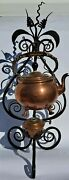 Antique Tea Kettle Copper Teapot Holder Wrought Iron Table Stand Circa 1893