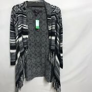 Hooked Up By Iot Black/white Cardigan Sweater Jacket Lightweight Hooded Size Xs