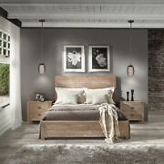 Rustic Platform Bed Frame Queen Size With Headboard Bedroom Solid Wood Driftwood