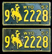 1957 Wyoming Auto License Plate Plates 9 2228 Matching Pair All Original Wy
