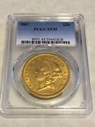 1867 Xf45 Pcgs 20 Liberty Double Eagle Gold Coin Pq Rarer Date