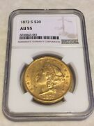 1872-s Au55 Ngc 20 Liberty Double Eagle Gold Coin Pq Great Appeal No Pcgs