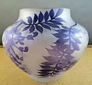 Galle Style Frosted Amethyst Purple Wisteria Leaf Cameo Glass Bowl Vase 5 1/2