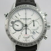 Raymond Weil Freelancer Chronograph Menand039s Automatic White Watch Genuine Leather