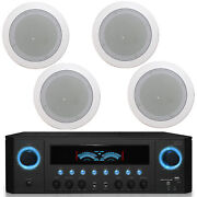 Tpro 2-ch 1000 Home Receiver Plus Qty 4 In-ceiling Stereo Speakers