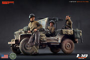 118 3 Figurines Crew For Jeep Willys Us Army Ww2 Very Rare Painted, No Car