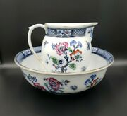 Keeling And Co Staffordshire Losolware Lg Pitcher And Bowl Flow Blue Flowers Exc.