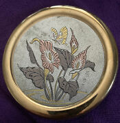 Art Of Chokin 3.5 Porcelain Covered Trinket Dish Butterfly And Calla Lily Japan
