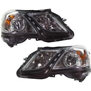 Pair Set Of 2 Headlights Lamps Left-and-right For Mercedes E Class Sedan Lh And Rh