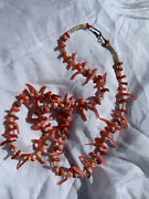 Vtg Old Pawn Navajo Zuni 1 Strand Pink Skin And Red Coral Bird Fetish Necklace 24andrdquo