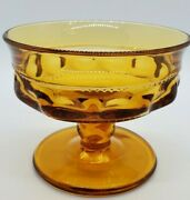 Vintage Indiana Amber Glass Kings Crown Footed Dessert/custard Cups Glasses