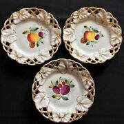 Carl Tielsch And Co.germany Handpainted Fruit And Gilt Cabinet Plates 3 C.1845-70