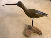 Vintage Signed Long-billed Curlew Shorebird Decoy From Old Ny Collection