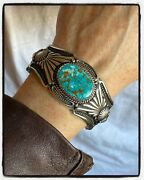 Harry Begay Ingot Silver Royston Turquoise Cuff Signed