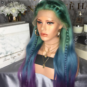 100 Human Remy Hair Transparent Lace Front Wig Blue Purple Green Rainbow 26