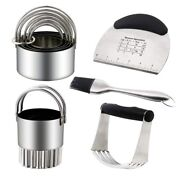 5xcookie Cutter Stainless Steel Pastry Cutter Set Dough Blender Pastry Scraper