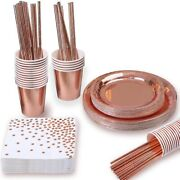 5x150pcs Rose Gold Party Supplies Party Tableware Foil Paper Plates Napkins