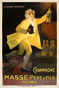 Champagne Masseand039 Original Vintage Poster C1910 By Auzolle