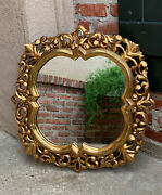 Antique Italian Carved Wood Gold Gilt Frame Wall Mirror Gesso French Hollywood