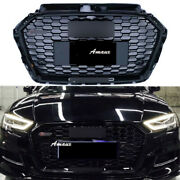 Fit For 2017 2018 2019 Audi A3 S3 Front Grille Honeycomb Black Rs3 Style Grill
