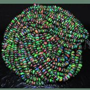 131.64cts Natural Top Quality Aaa Multi Color Play Black Opal Beads 6 Lines