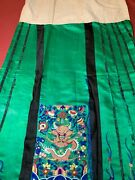 Antique Late 19th/ Early 20th C Qi'ing Chinese Embroidered Silk Skirt Embroidery