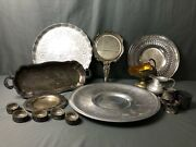 Vintage Mixed Lot Of Silver Plated Trays -creamer - Napkin Rings - Repousse Mirr