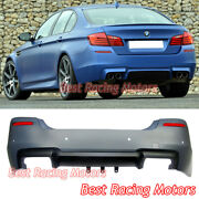 M5 Style Rear Bumper Cover Quad Exhaust + Pdc Fits 11-16 Bmw F10 5-series