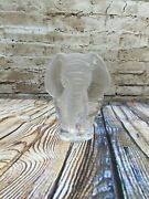 Mats Jonasson Lead Crystal Elephant 5 1/2 Tall Signed Paperweight Sweden
