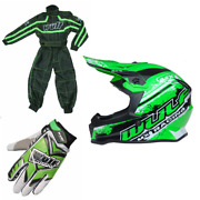 New Wulfsport Green Kids Youth Motocross Helmet Suit Gloves Bundle Kit Child Pw