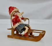 Antique Bisque Head Christmas Sled Ornament - 81962