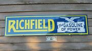 Richfield 30and039s-40and039s Gasoline 1and039x46 Metal Dealer Sign W/eagle Logo-garage Art