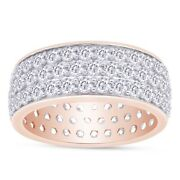5.7 Ct Lab Grown Diamond 3-row Round Cut Pave Band Ring 14k Rose Gold Over