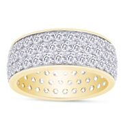5.7 Ct Lab Grown Diamond 3-row Round Cut Pave Band Ring 14k Yellow Gold Over