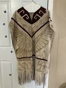 Vintage Beautiful Native American Leather Suede Lady Dress Fringe Ceremony